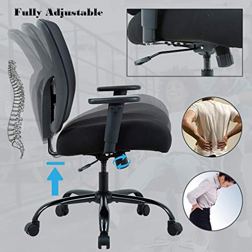 PayLessHere Big and Tall 400lb Office Chair, Ergonomic Executive Desk Chair Rolling Swivel Chair Adjustable Arms Mesh Back Computer Chair with Lumbar Support Task Chair for Women, Men Black