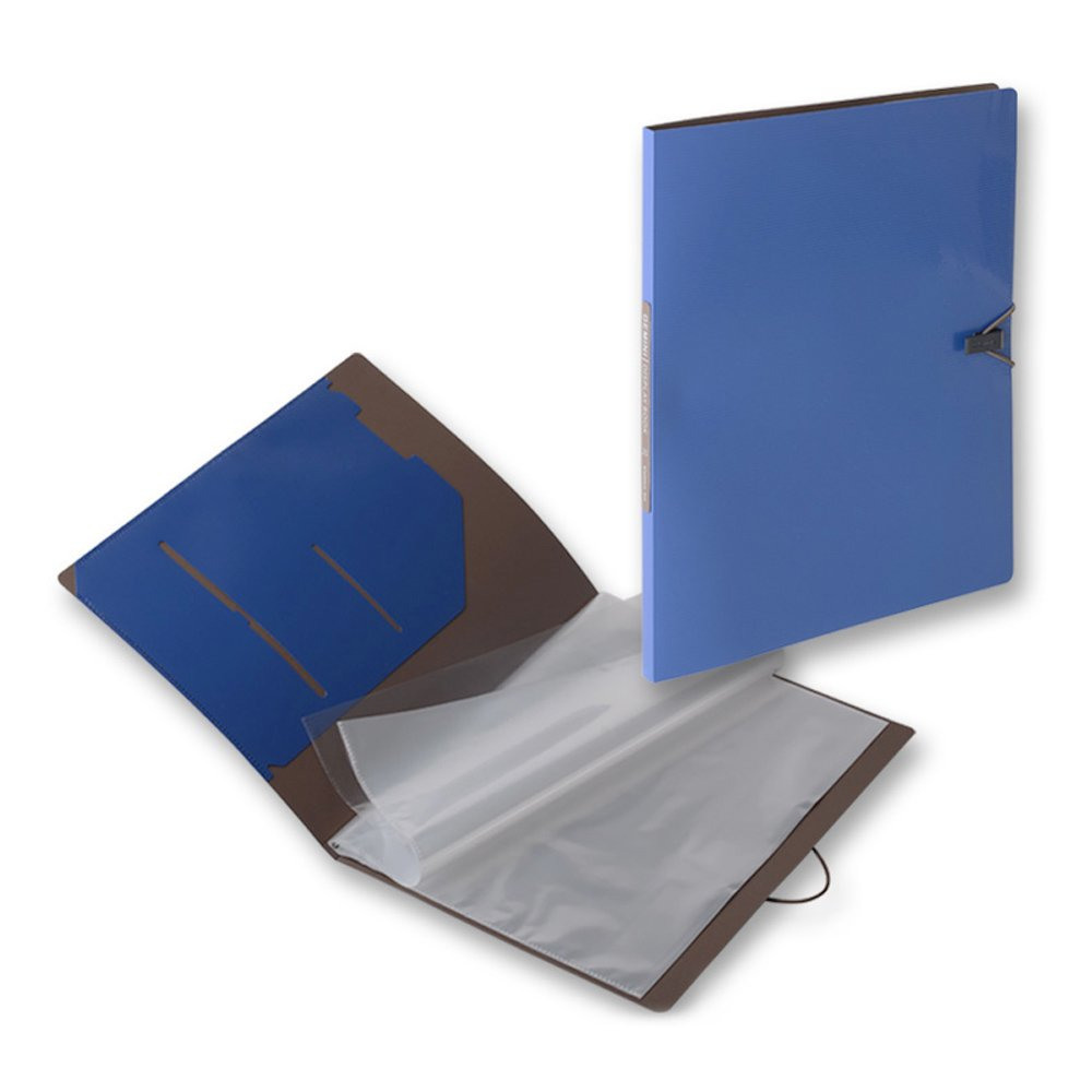 Zhi Jin 20Pockets A4 Presentation Book Protector File Display Presentation Folders 40Pages with Elastic Closure for Office Report Music Sheets Blue