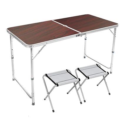 YXX- Mesa y sillas Plegables de Madera al Aire Libre con la ...