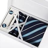"Zakka Republic Mens Business Tie, Cufflinks, Pocket Square and 3"" Tie Clip Set"