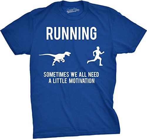 (Mens Running Motivation Raptor Chase T Shirt Funny Dinosaur Tee for Guys (Blue) - M)