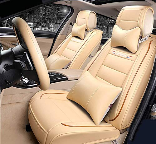 ADHW Easy to Clean PU Leather Car Seat Cushions 5 Seats Full Set - Decorated Universal Fit Cover Anti-Slip Suede Backing Adjustable Bench for 99% Types of Cars (Color : Beige):