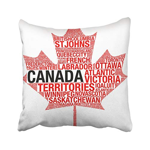 Kidmekflfr 18X18 Inch Throw Pillow Cover Polyester Red Collage Maple Leaf Silhouette Canada Flag Detail Tag Cloud White Map Montreal Toronto Cushion Decorative Pillowcase Square for -