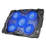 HAVIT 5 Fans Laptop Cooling Pad for 14-17 Inch Laptop, Cooler Pad with LED Light, Dual USB 2.0 Ports, Adjustable Mount Stand (Black+Blue)