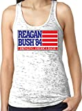 reagan bush 84 tank white - Amdesco Ladies Reagan Bush 84, 1984 Presidential Campaign Burnout Racerback Tank Top, White Large