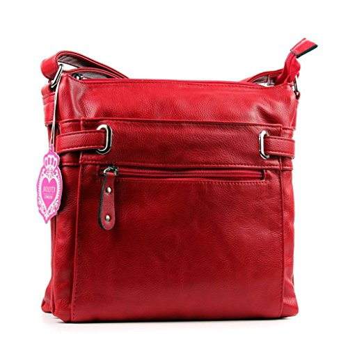 Aossta Body Pocket Multi Womens Faux Shoulder Bag Messenger Leahter Cross Red rfBCrqnw6