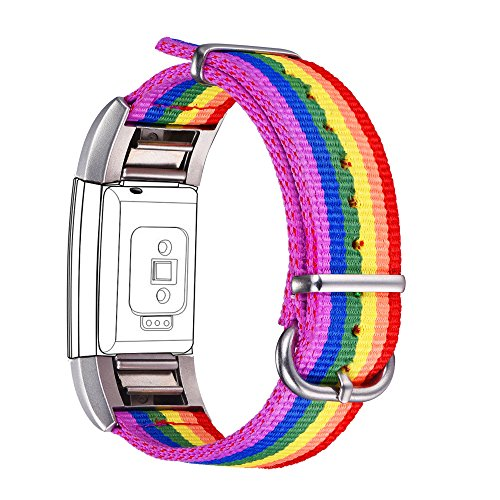Bandmax Compatible Fitbit Charge 2 Bands Rainbow LGBT, Nylon Fitbit 2 Watch Bands Comfortable Sport Straps Accessories Mix Adjustable Metal Clasp Compatible Fitbit Charge 2(Large Size)