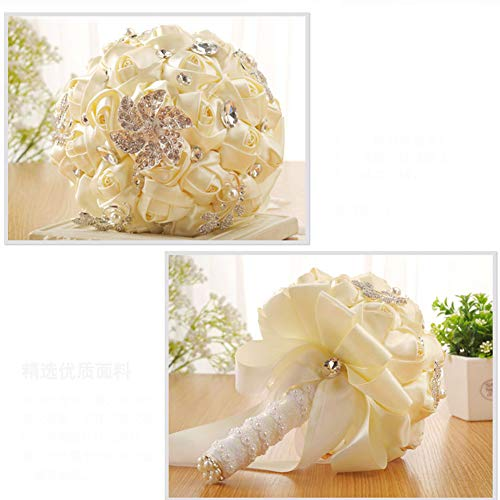 42ef0456c5325 DENTRUN Wedding Bouquet Bridesmaid Bridal Artificial Holding Flowers,  Crystal Soft Ribbons Wedding, Party,Valentine's Day Church, Satin Bouquets  ...