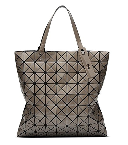 Kayers Sulliva Womens Fashion Geometric Plaid Tote Bag PU Leather Shoulder Bag Top-handle Handbags Large Bronze (Bag Leather Bronze)