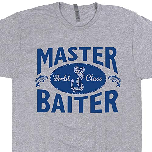 XXL - Master Baiter T Shirt Funny Fishing Tee Offensive Saying Master Baiter Gift for Fisherman Men Novelty Adult Humor Gray