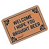 FUNNY KIDS 'HOME Funny Doormats Welcome! I Hope You Brought Beer - Durable Machine-washable Indoor/outdoor Door Mat 23.6''(L) x 15.7''(W) Inch