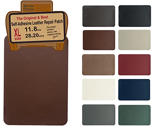 MastaPlasta Self-Adhesive Patch for Leather and Vinyl Repair, XL Plain, Medium Brown - Multiple Colors Available