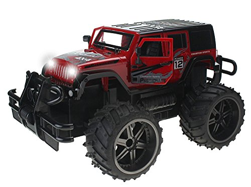Jeep Wrangler Cross Country 1:14 Scale Battery Operated Remote Controlled 4WD 2.4 GHz Toy RC Truck w/ Remote Control,& Door Opening Action ()