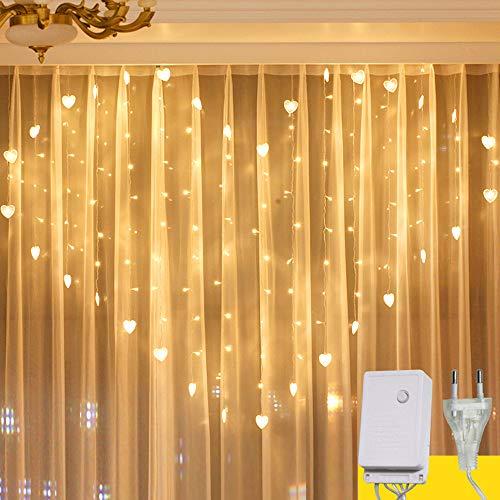 Tuscom 2M x 1.5M 124 Lights Love LED Lights   Lover Heart Curtain Lights Wedding Room Decoration White Ice Curtain Lamp Light String Airy Outdoor Xmas Garden Decor Lamp (Yellow) by Tuscom@ (Image #3)