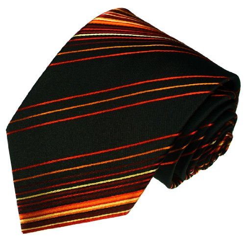LORENZO CANA Luxury Italian Silk Tie Black Orange Red Striped Necktie 36027