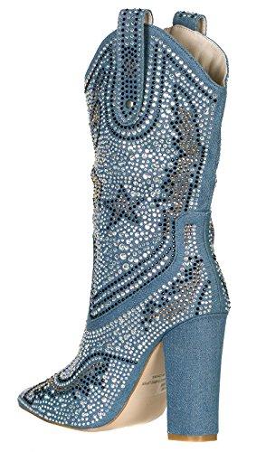 Cape Robbin Kvinners Rhinestone Cowboy Boots Dongeri