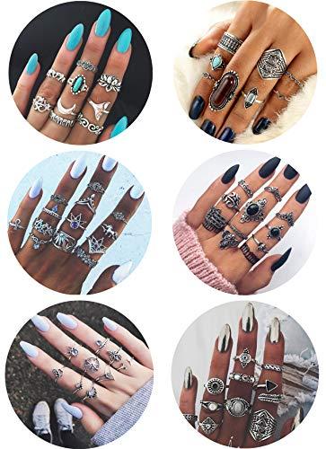 FIBO STEEL 59 Pcs Vintage Knuckle Rings for Women Girls Stackable Midi Finger Rings Set ()