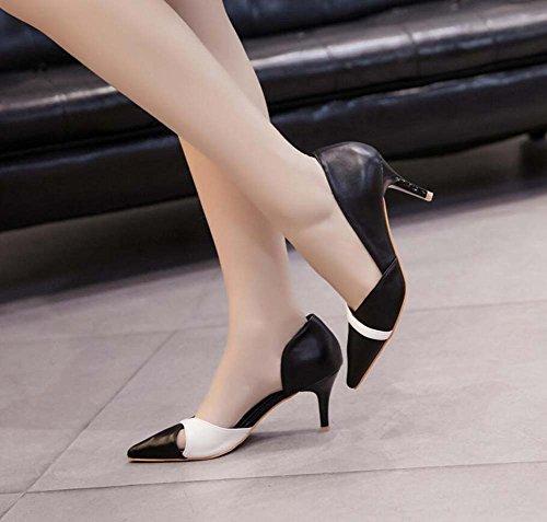 D'orsay Toe New Size Dress Hollow Shoes Shoes Women Pointed Pump Color Eu 35 Heel Casual Heels 40 2017 Court 5cm Shoes Black Kitten Mid Match Ol Autumn IpqHX