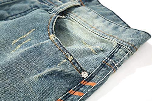Pantaloni Vita Eleganti Strappati Moda Jeans Colore Moderna Casual Blu Media Da Uomo Di A Chiaro Vintage w7XB4