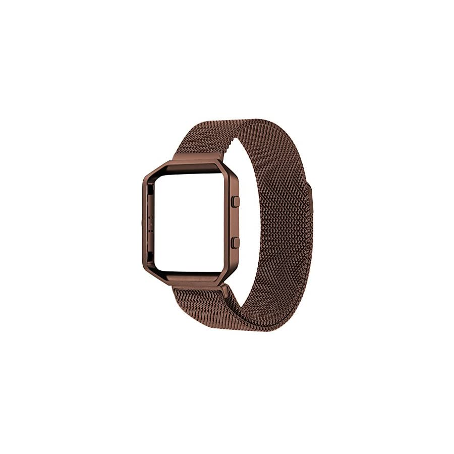 Oitom Replacement Bands Compatialbe Fitbit Blaze,Small (5.5 6.7 in),Large(6.3 9.1),Frame Housing+Milanese Loop Stainless Steel Band for Fitbit Blaze Smart Fitness Watch Two Size