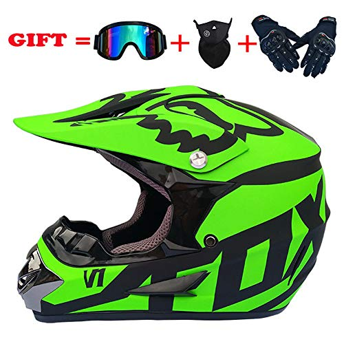 Dirt Bike Helmet - yaning ATV MX Dirt Bike Off-Road Helmet DOT/ECE Approved with Goggle Mask and Gloves