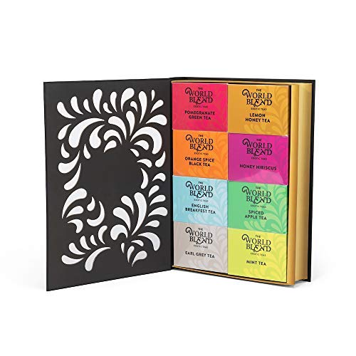 Thoughtfully Gifts, Tea Story: A Tea Lover's Gift Set, 8 Different Tea Flavors, Including English Breakfast Black Tea, Lemon Honey Green Tea, French Vanilla Black Tea, and More in a ()