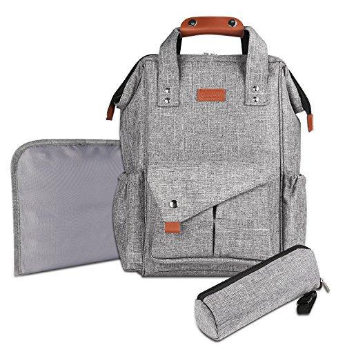 Diaper Bag, Canbeisi Multi-function Baby Diaper Tote Bag Backpack with Stroller Straps and Insulated Pockets, Waterproof Nappy Changing Bag (Grey)