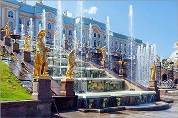 Alu Dibond 30 x 20 cm: Fountains at Peterhof Palace, St. Petersburg di Editors Choice POSTERLOUNGE