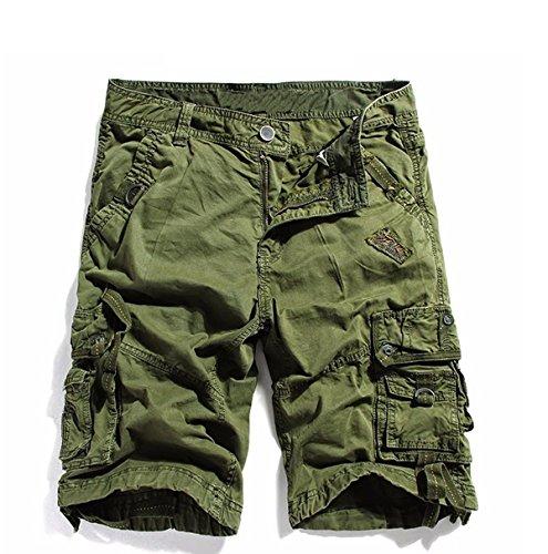 KEYBUR Cotton Twill Army Cargo Multi-Pocket Shorts Outdoor Wear Lightweight (32, Army Green) ()