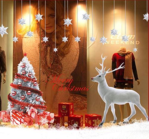 LONGTEN Christmas Windows Stickers Reindeer Christmas Tree Removable Vinyl DIY Wall Window Door Mural Decal Sticker for Showcase