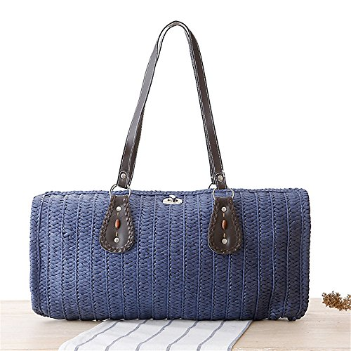 Bag Knitting Coffee The Straw Blue Popular Travel Lady Shopping Women On Deep Summer Bag Great Meaeo Beaches Tote Female Bag 0wfTZqt