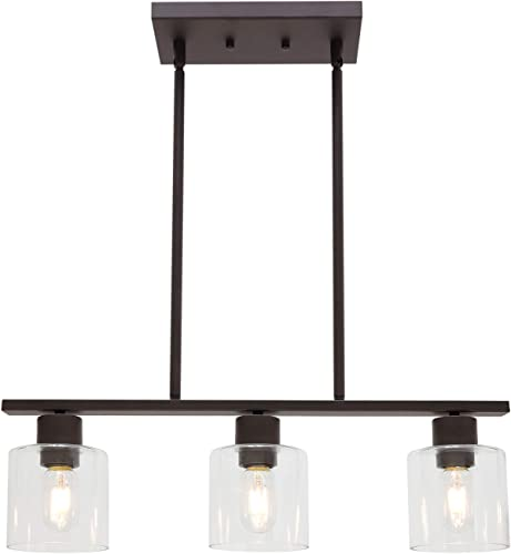 ELUZE 3 Light Vintage Pendant Lighting, Industrial Oil Rubbed Bronze with Clear Glass Shade, for Kitchen Lamp for Hotels Hallway Shops Cafe Bar Chandelier Light Fixtures