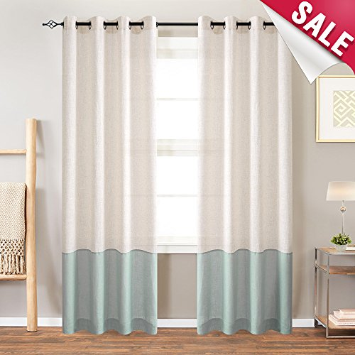 Color Block Curtains for Bedroom 84 inches Long Linen Textured Curtains Light Filtering Window Curtain Panels for Living Room- Flax & Spruce