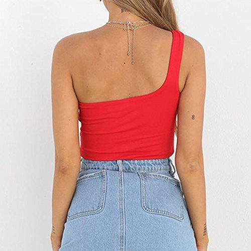 Chic T Tops Femme Coton sans Shirt Camisole Longues Manche Casual Blouse Chemisier Shirt Mode Sexy Uni Rouge Ample T gEXqwxvd6