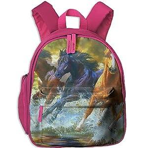 Horse RunningWater Splash Kids School Backpack Lightweight Shoulders Bag Boys Girls Pink