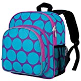 Wildkin 12 Inch Backpack, Includes Insulated, Food-Safe Front Pocket and Side Mesh Water Bottle Pocket, Perfect for Preschool, Daycare, and Day Trips - Big Dots Aqua