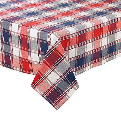 Patriotic Tablecloth Festive Red, White and Blue Cotton Woven Fabric Top-Stitching (60 x 102 Rectangle)