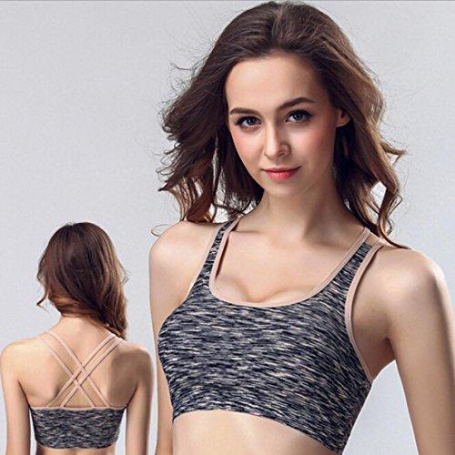 Sport BH HARRYSTORE Mujer sosténes deportivas de yoga cómoda y elástico Ropa interior Push Up Camisetas sin mangas para correr Fitness A Gris