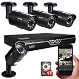 ZOSI 8 Channel 720P HD Security System with 1TB Hard Drive, 4pcs 1MP 720P outdoor waterproof 1200TVL Metal Cameras, 720P DVR, and 100' Night Vision Support 3G/4G Moblie phone remote view