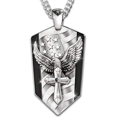 God Bless America Stainless Steel Eagle Pendant Necklace by The Bradford Exchange