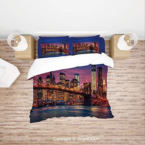 PUTIEN Durable Lightweight Fabric Printing Custom Bedding Set,NYC