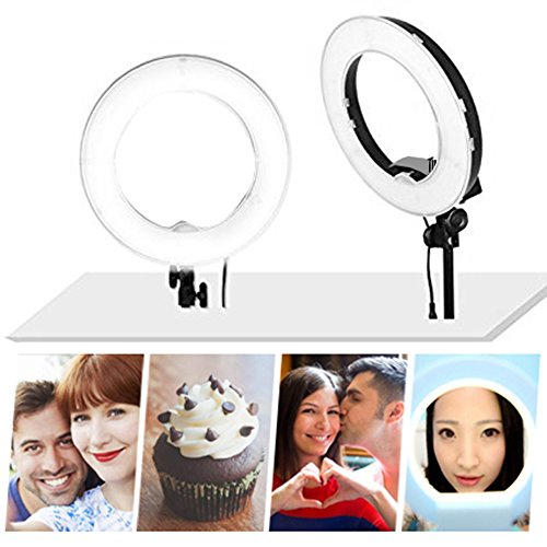 Kshioe 8''/12'' Dimmable Led Ring Light, Continuous Lighting Kit Photography Photo Studio light for Makeup, Camera Smartphone Youtube Video Shooting (8'' Basic Light)(No Stand)