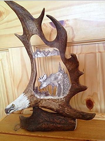 Wild Moose Antler Carving - Antler Carving