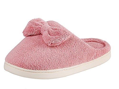 Women's Butterfly Knot Slippers Coral Velvet Lightweight Anti-Slip Sole Home Shoes(Pink,9.5 US)