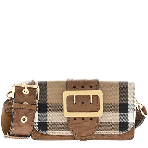 Burberry Women's Buckle Bag in House Check and Leather Tan - Burberry Bag Buckle