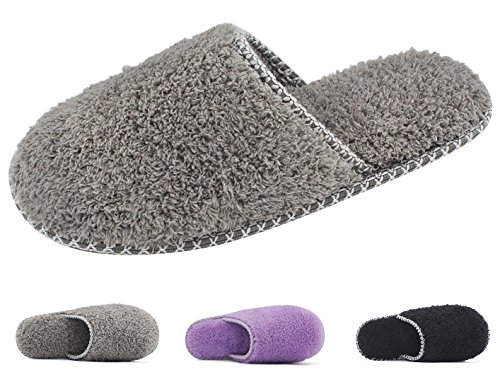 HomeTop Women's Cozy Plush Fleece Slip On Memory Foam House Slippers (Medium / 7-8 B(M) US, Gray)