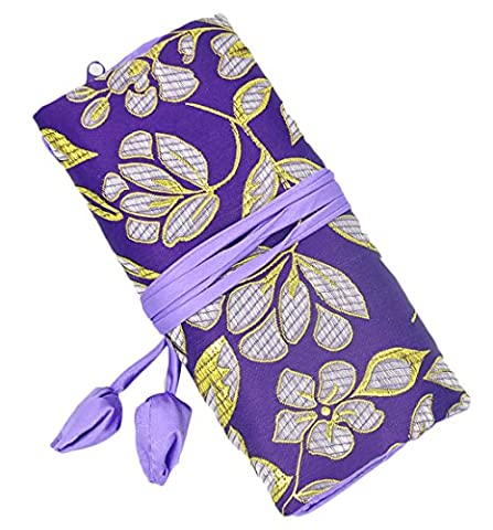 iSuperb Travel Jewelry Roll Silk Embroidery Brocade Elegant and Bold Travel Jewelry Case Mother's Gift (Purple with Gold