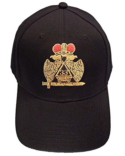 Masons Baseball Cap - Standard Scottish Rite Wings DOWN with Red Crown. 33rd Degree Masonic Black Hat - One Size Fits Most Cap for Freemasons (Black)