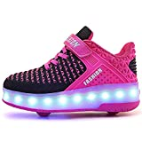Ehauuo Wheelie Shoes for Girls Boys Light up Shoes Kid's Skates Shoe USB Charging Roller Skate Shoes for Gift(5.5 M US Big Kid, B-Rose)