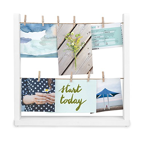 Umbra Hangit Desk Photo Display, White, Desktop (Display Clips Photo)